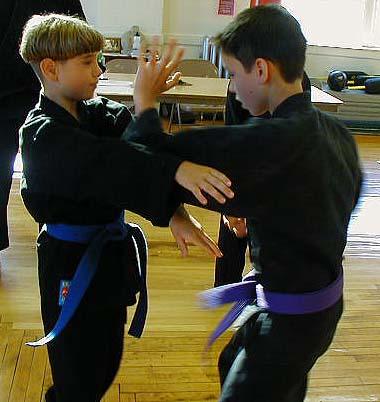 boys practicing martial arts