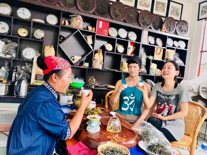 Ashley and Jack drink tea in Yunnan